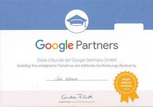 Google Partners AdWords Zertifikat HOFE Media